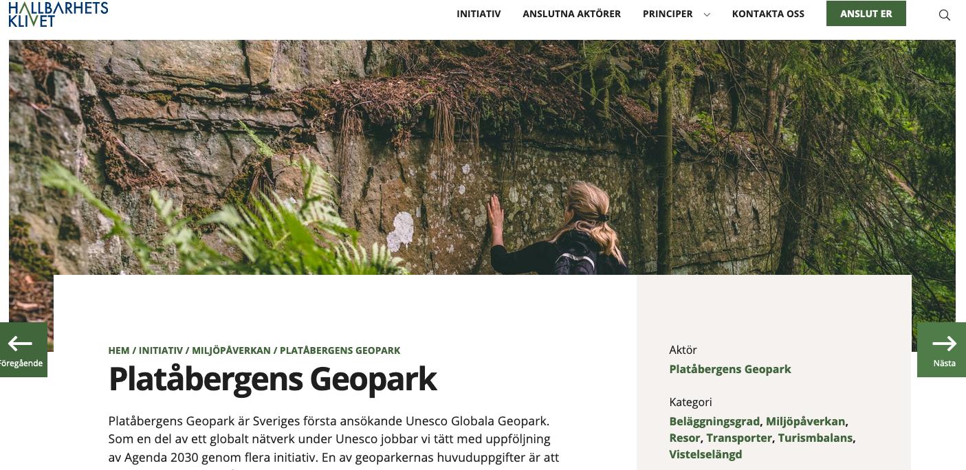 Platåbergens Geopark är en del av Hållbarhetsklivet